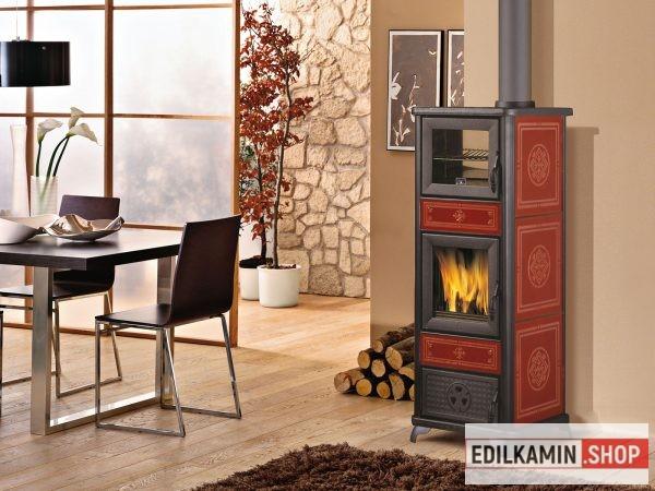 EDILKAMIN Dafne Forno fatüzelésű kályha sűtővel 7,2kW / Bordó Kerámiával