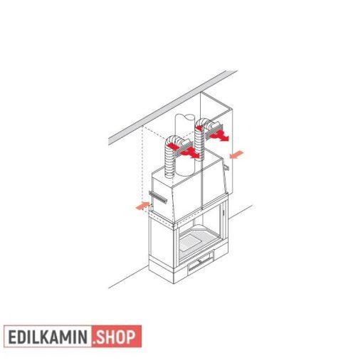 Edilkamin KIT UNO / réz színű ráccsal / Meleg levegő elcsatornázásához kiegészitő