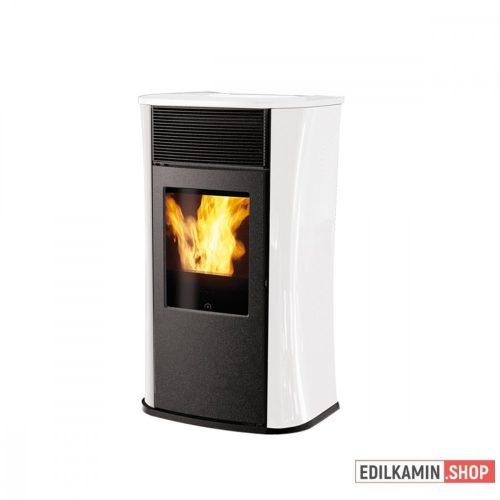 EDILKAMIN Kályha pellet tüzelésű 6,5kW : MYA ECO fehér üveg oldalak és fedlap, fekete fronttal