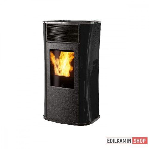 EDILKAMIN Kályha pellet tüzelésű 6,5kW : MYA ECO fekete üveg oldalak és fedlap, fekete fronttal