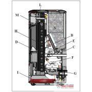 EDILKAMIN Vízteres pellet kályha: MITO IDRO acél 13kW / pergamen kerámia fedőlap és intarzia