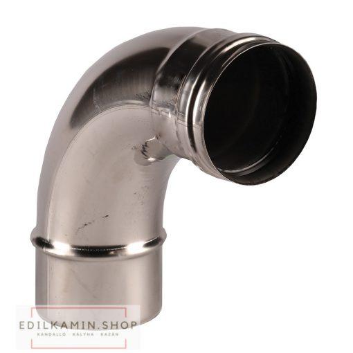 Edilkamin könyök (B2) 90°/ rozsdamentes inox 316/L szimplafalú Ø 8cm tömítéssel